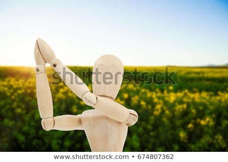 Wooden figurine standing with both the hands joined Stock photo © wavebreak_media