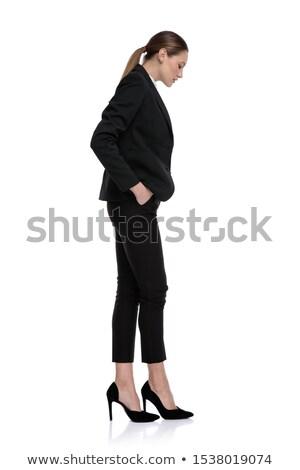 yandan · görünüş · ayakta · hat · tam · uzunlukta · beyaz · kadın - stok fotoğraf © feedough
