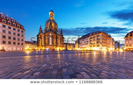 dresden frauenkirche at sunset stock photo © benkrut