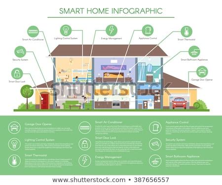 ingesteld · airconditioner · home · verwarming · koeling · apparaat - stockfoto © genestro