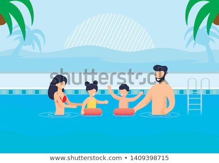 Stock photo: Woman swim on inflatable circle in pool