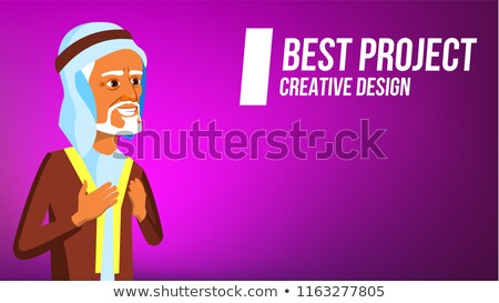 Arab Man Banner Vector. Traditional Cloths. Express Emotions. Presenting. For Advertisement, Greetin Stock photo © pikepicture
