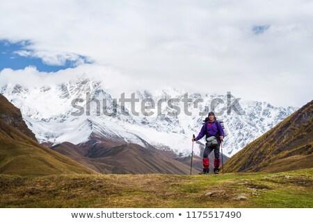 Tourist in a mountain trekking near the top of Shkhara, Svaneti  Stock photo © Kotenko