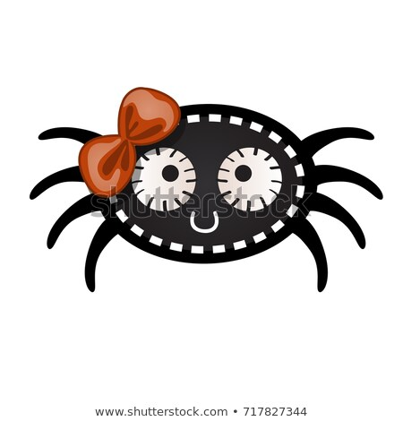 Funny black spider with contours in the form of strokes and dotted lines isolated on white backgroun Stock photo © Lady-Luck