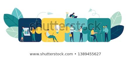 Kantoorwerk geslaagd team werken taak posters Stockfoto © robuart