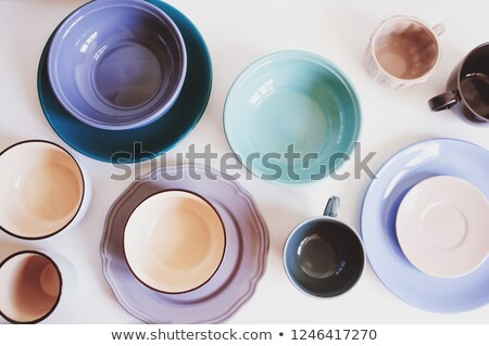 empty colorful modern ceramic plates and cups collection stock photo © dash
