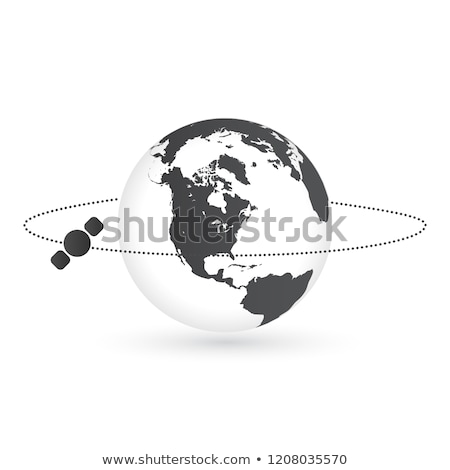 Planet earth and round satellite orbit vector illustration. Space satellite flying around the earth  Stock photo © kyryloff