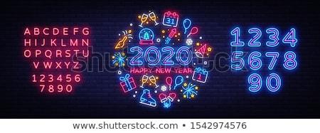 Zdjęcia stock: Christmas · kalendarza · neon · zimą · wakacje · promocji