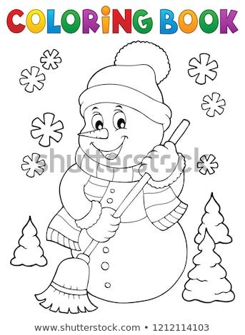Coloring book snowman topic 5 Stock photo © clairev