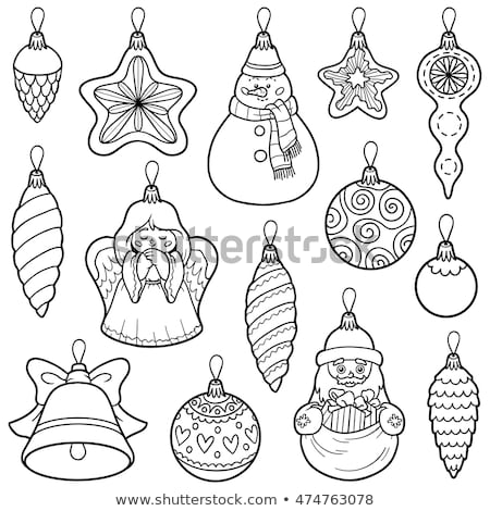 Santa characters group coloring book Stock photo © izakowski