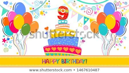 Karikatür numara dokuz doğum günü örnek mum Stok fotoğraf © cthoman