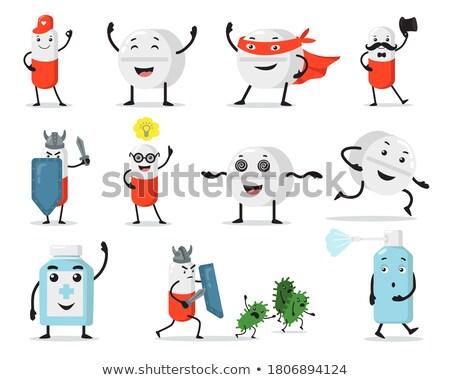 Vitamin kabala szuperhős illusztráció c vitamin visel Stock fotó © lenm