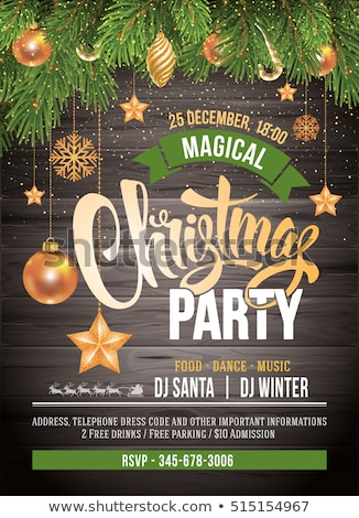snowflakes christmas event party flyer template Stock photo © SArts