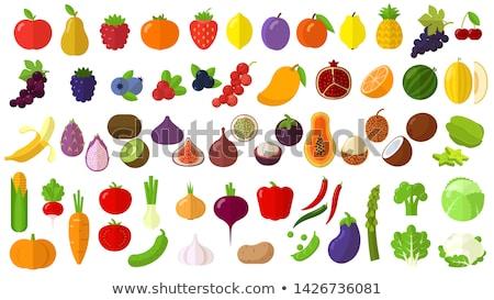 Lychee and Mango Coconut Banana Fruits Set Vector Stock photo © robuart