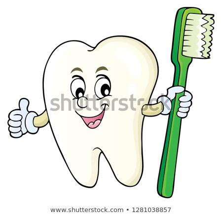 Dente escova de dentes imagem mão feliz Foto stock © clairev