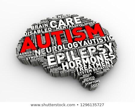 3D agy forma autizmus címke szófelhő Stock fotó © nasirkhan
