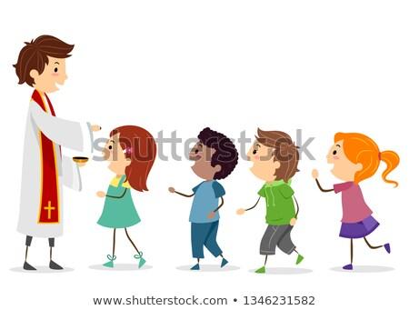 Crianças padre linha ilustração corrida crianças Foto stock © lenm