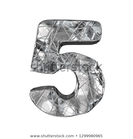 Grunge aluminium foil font number 5 FIVE 3D Stock photo © djmilic