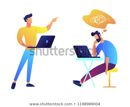 Programmers working together and solving problem vector illustration. Stock photo © RAStudio