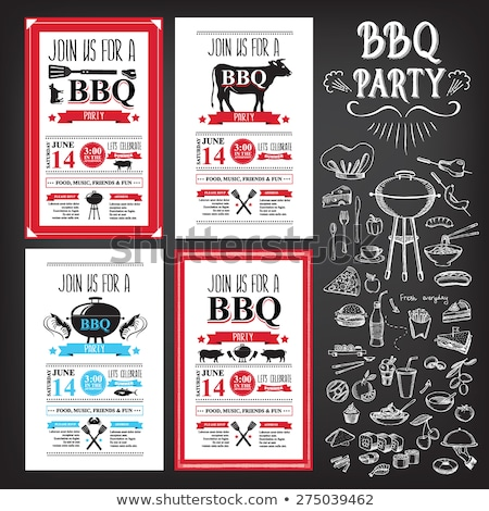 party barbecue set of posters vector illustration stock photo © robuart
