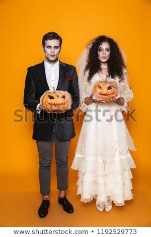 ürpertici halloween gelin damat bakıyor kamera Stok fotoğraf © deandrobot