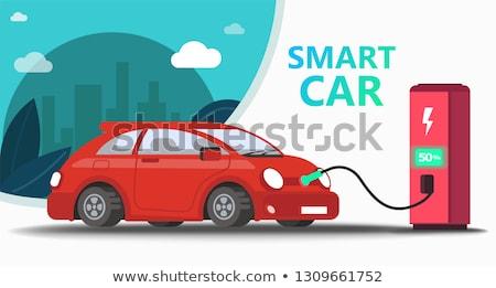 Eco recharge stations in smart cityconcept landing page. Stock photo © RAStudio