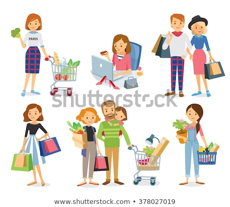 Shopping Women in Grocery Store Poster Set Vector Stock photo © robuart
