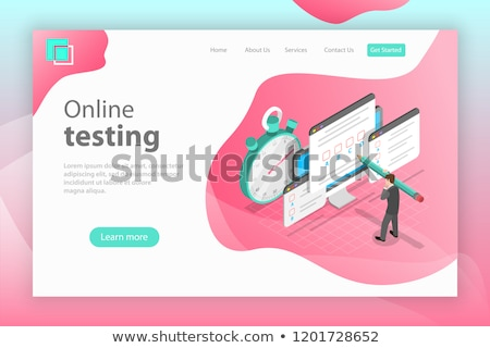 isometric flat vector landing page header for online testing questionnaire form stock photo © tarikvision