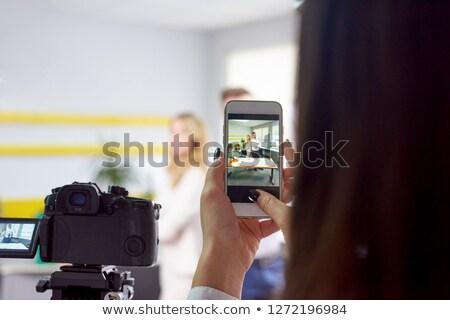 Donna foto business partner fotocamera lato Foto d'archivio © frimufilms