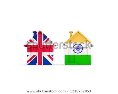 два домах флагами Великобритания Индия изолированный Сток-фото © MikhailMishchenko