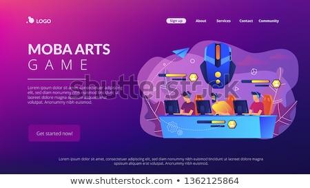 On-line batalha arena aterrissagem página equipe Foto stock © RAStudio