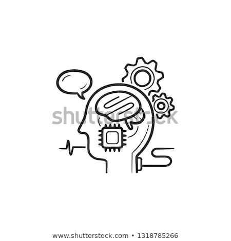 Brain machine interface hand drawn outline doodle icon. Stock photo © RAStudio