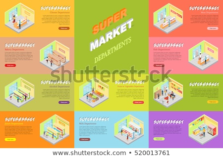 Supermarket Departments Counters Food Set Vector Stock photo © robuart