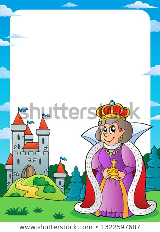 Queen and castle theme frame 1 Stock photo © clairev