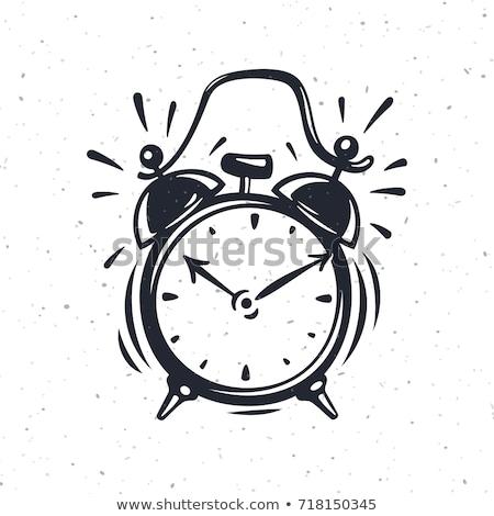 Wekker geïsoleerd witte schets stijl Stockfoto © Arkadivna
