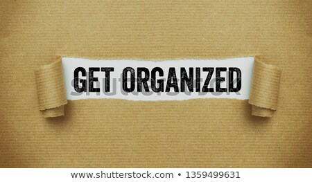 Déchirée papier brun mots organisé papier travaux Photo stock © Zerbor