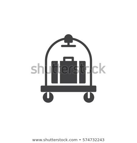 Bagaj araba ikon şablon mavi sarı Stok fotoğraf © angelp