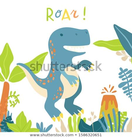 T-Rex roaring by the volcano Stock photo © colematt