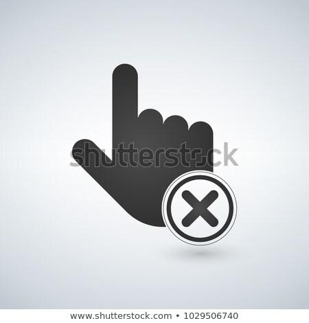 Abort or delete hand cursor black icon. vector illustration. Stock photo © kyryloff