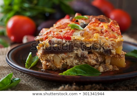 Traditional Greek moussaka with aubergine Stock fotó © furmanphoto
