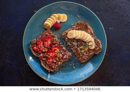 ломтик · тоста · пластина · один · продовольствие · таблице - Сток-фото © yuliyagontar