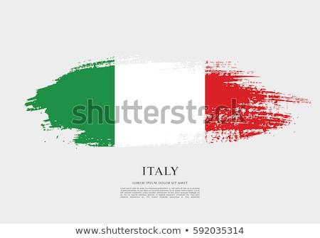 Olasz zászló festett ecsetvonások fehér Olaszország három Stock fotó © marylooo