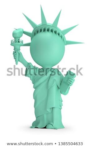 3D küçük insanlar heykel özgürlük görüntü Stok fotoğraf © AnatolyM