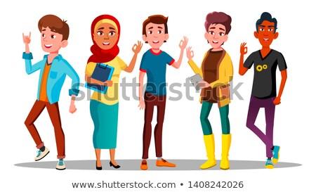 Mensen tevreden vector internationale mannen Stockfoto © pikepicture