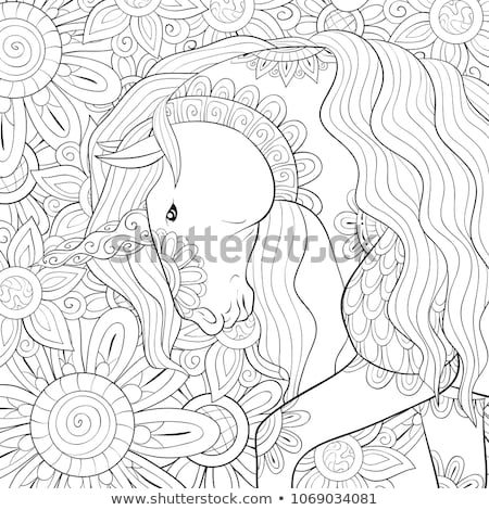felice · cielo · illustrazione · cavallo · sfondo · divertimento - foto d'archivio © vetrakori