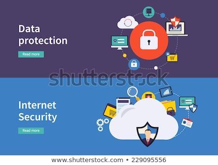 Felhő biztonság jelszó védett adat felhő ikon Stock fotó © kyryloff