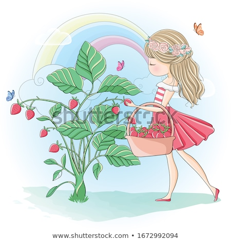 Cute fille fraises jardin printemps Photo stock © AndreyPopov