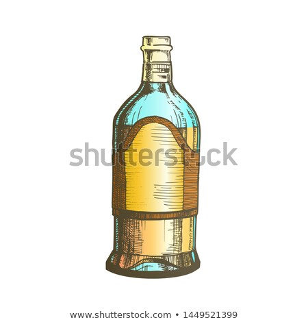 closed tall classic mexican tequila bottle vector stock photo © pikepicture