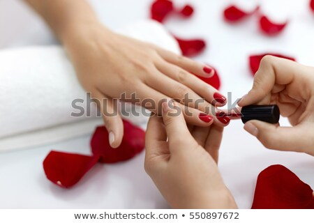 Manicure Manicurist with Client Polishing Nails Stock photo © robuart