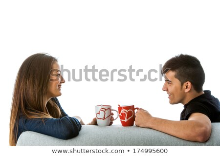 close up of happy couple drinking coffee at home Stock photo © dolgachov